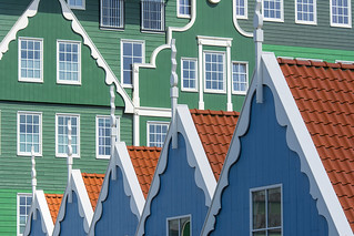 Five blue houses