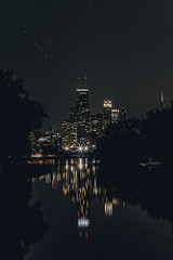 City Stars (FARES AL-SHAMMARY) Tags: city cityscape citykillerz chicago canon night illinois nightlife sky street unitedstates stars reflection downtown dark 5d 85 f22