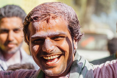 Smiling Man in Gulal During Holi, Vrindavan India (AdamCohn) Tags: abeer adamcohn hindu india vrindavan celebrate gulal holi man pilgrim pilgrimage smile अबीर गुलाल होली