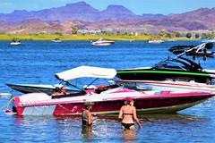 Staying cool (thomasgorman1) Tags: boat boats boating people river shore desert woman bikini women recreation tourism travel nikon az colorado arizona mountains water trees view scenic summer