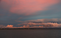 Clouds over the bridge. (Pablin79) Tags: sunset dramaticsky dawn dusk twilight moodysky horizon daybreak clouds afternoon river water blue light outdoors bridge posadas misiones argentina coast summer