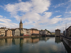 Zurich Morning (Anthony Kernich Photo) Tags: zurich switzerland schweiz swiss europe morning reflection city cityscape olympus microfourthirds lumix architecture building rathaus photogenic travel