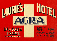 A vintage luggage label for Laurie's Hotel in Agra, India - The Hotz Trust, Proprietors - The equilateral cross and colors have their origins from the flag of the Swiss Confederacy (thstrand) Tags: 1920s 1930s 1940s 19thcentury 20thcentury adventure advert advertise advertisement advertising agra asia bobhotz bobbyhotz brightcolors business cecil colorful comfort communications delhi equilateralcross florencehotz gables geographycountries graphicarts graphicdesign historic history historyoftravel hotels india indian labels laurieshotel luggagelabel luxury mahasu mashobra nobody redandyellowcolors roberterichotz rolandhotz steamertrunks sticker stickers suitcase suitcases swisscross symbol symbols text thehotztrust tourism touristdestination transport transportation travel traveldestinations trunk trunks type wildflowercottage wildflowerhall