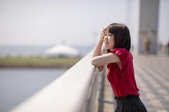 Young woman looking at scenary from bridge (Apricot Cafe) Tags: img107407 asia asianandindianethnicities canonef85mmf14lisusm japan japaneseethnicity kasairinkaipark tokyojapan autumn beautifulwoman break breezing bridge capitalcities casualclothing charming colorimage copyspace day hairtoss happiness leaning leisureactivity lifestyles lookingaway necklace oneperson oneyoungwomanonly onlywomen outdoors people photography portrait publicpark realpeople relaxing resting selectivefocus shortsleeved sideview sky smiling straighthair waistup wind women youngadult tokyo tokyoprefecture jp