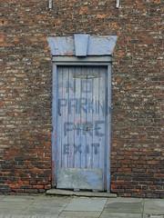 Subtle Warning (Glass Horse 2017) Tags: teesside stocktonontees door blue painted subtle painteffect noparking fireexit shabby olddoor brickwork