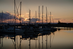Sunset at the Marina (Lisa M / /) Tags: sunset boats sky water reflection scarborough nature naturephotography landscape landscapephotography queensland australia