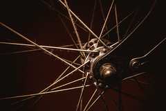 Bicycle Details by Night (dejankrsmanovic) Tags: bicycle bike vehicle wheel illumination light dark studio abstract partof sport transport structure closeup macro detail object stilllife concept conceptual black metal steel metallic frame dirty hairy dusty unclean