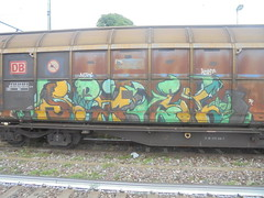 069 (en-ri) Tags: spivze verde giallo now korfs foglie leaves 14 2014 train torino graffiti writing treno merci freight