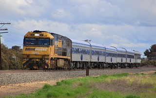 NR5 leads AM8 The Overland out of Horsham bound for Melbourne