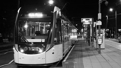 waiting for the last tram 03 (byronv2) Tags: edinburgh edimbourg scotland blackandwhite monochrome blackwhite bw westend tram transport publictransport night nuit nacht edinburghbynight rails tramstop platform newtown