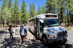 Get into the shuttle to Lava Butte (daveynin) Tags: newberry volcanic oregon transportation bus shuttle