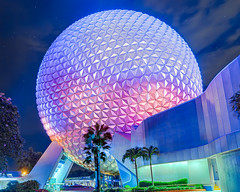 Spaceship Earth | Epcot Center (Pandry 2015) Tags: sky light color canonusa canon6d canon disneyphotography florida orlando longexposure nightphotography nighttime night darkride themepark disneyparks spaceshipearth epcotcenter epcot disney waltdisneyworld wdw
