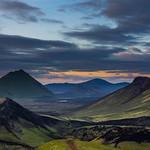 Green and Black  Mountains , Orange Sky thumbnail