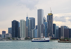 Tourboat with Chicago Lake Shore (LotusMoon Photography) Tags: chicago skyline lakeshore lake buildings architecture skyscraper boat tourboat lakemichigan illinois city cityscape cityview summer annasheradon lotusmoonphotography sea ship water sky building waterfront