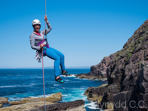 Debbie M abseiling down off the Old Man of Stoer 1