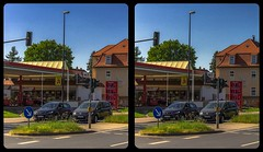 Gas station 3-D / CrossView / Stereoscopy / HDRaw (Stereotron) Tags: saxony sachsen dresden elbflorenz streetphotography urban car auto pkw tankstelle gasstation europe germany deutschland cross eye view xview crosseye pair free sidebyside sbs kreuzblick bildpaar 3d photo image stereo spatial stereophoto stereophotography stereoscopic stereoscopy stereotron threedimensional stereoview stereophotomaker photography picture raumbild twin canon eos 550d remote control synchron kitlens 1855mm 100v10f tonemapping hdr hdri raw crossview