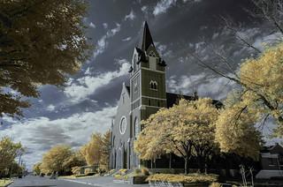 St Joseph's Catholic Church shot and edited as infrared