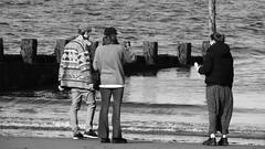 Autumn Afternoon at Portobello 08 (byronv2) Tags: sunny sunlight sunshine autumn portobello edinburgh edimbourg scotland coast coastal sea northsea firthofforth forth rnbforth river riverforth beach portobellobeach blackandwhite blackwhite bw monochrome peoplewatching candid stre