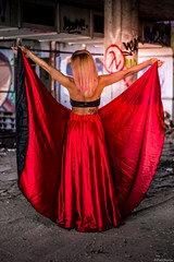 Red wings (@Dpalichorov) Tags: outdoor women girl beautiful sexy handsome gorgeus nikond3200 nikon d3200 red dress wings varna bulgaria building abandoned abandonedbilding tatoo portrait portraite gown frock long ballet pink hair