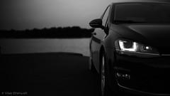 Volkswagen Golf MK7 (VisaStenvall) Tags: suomi finland helsinki car volkswagen vw golf 20 tdi black white b w hatchback sport summer evening night dark bokeh led lights salmisaari water ocean sea rajasaari