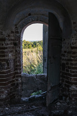 Abandoned Church. (Oleg.A) Tags: grass sunny chapelle penzaregion russia church nature ancient brick old outdoor rural materials dome ruined building countryside summer abandoned sunset tower exterior forest orthodox evening sky cross wall landscape architecture field chapel landscapes outdoors napolnyyvyas penzenskayaoblast ru