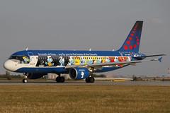 OO-SND PRG 17.08.2018 (Benjamin Schudel) Tags: oosnd brussels airlines airbus a320 prg lkpr prague vaclav havel czech republic international airport smurf aerosmurf