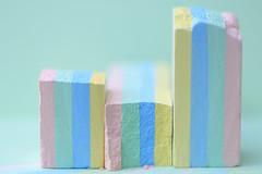 Pastel Cityscape (eleni m) Tags: multicolor macro chalk pastel krijt stoepkrijt sidewalkchalk toy children kreide craie spelen krijten stoep kleuren pasteltinten geel groen roze blauw