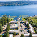 Villa Marina and Lake Sammamish from the sky on a quiet Saturday morning