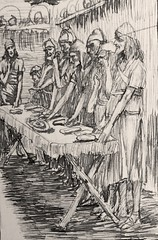 119.1/402 The Jews' Passover (Exodus 12:11) drawing by James Tissot at the John Rylands Library file created by Phillip Medhurst (Phillip Medhurst) Tags: tissot jamestissot jewishmuseumnewyork exodus bookofexodus passover pesach pascha seder phillipmedhurst