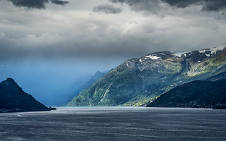 Changing weather at the fjord