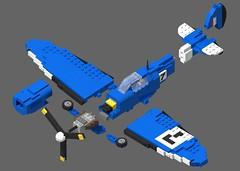 Supermarine Spitfire Mk I - Racer No 7 - 03 (Lt. SPAZ) Tags: lego supermarine spitfire wwii allies raf mk i aircraft fighter airplane british