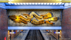 Brussels, Belgium: Pétillon metro station (Line 5); Artist Lismonde used anodized aluminum in the 14 meter wide mural (nabobswims) Tags: be belgium brussels bruxelles hdr highdynamicrange ilce6000 lightroom metro mirrorless mural nabob nabobswims photomatix pétillon rapidtransit sel18105g sonya6000 station subway ubahn