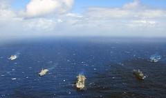 Steaming Ships 2, variant (sjrankin) Tags: navy usswasp lcac marines sailors usswasplhd1 pacificocean japan jpn 16september2018 edited usn unitedstatesnavy 180826nnm8060620 fleet ussshoup ussgreenbay ussashland jsosumi jmsdf passex lpd20 lsd48 lst4001