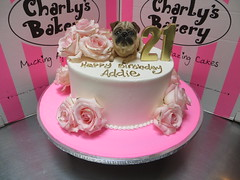 Single tier 21st birthday cake decorated with a 3D pug dog topper and arrangement of fresh pink roses (Charly's Bakery) Tags: charlys charlysbakery charliesbakery charleysbakery wickedchocolate bakerycapetown birthdaycake birthdaycakecapetown customcake capetown weddingcakecapetown noveltycake chocolatecake cupcakes celebration cake anniversary roses bunch arrangement pug dog topper figurine modelled figure 5roses