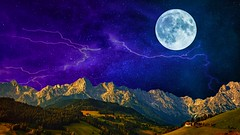 Sky over Mountains (Iforce) Tags: wallpaper art design digital composition fantasy colors lights forest blue moon night stars cosmos lightning clouds trees green