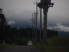 cloud and fog (murozo) Tags: cloud fog electric pole light truck car green hill tree nikaho akita japan 雲 霧 電柱 軽トラ 車 緑 木 丘 にかほ 秋田 日本