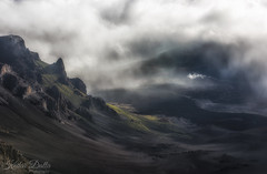 Post sunrise blues (wandering indian) Tags: hawaii maui travel landscape kedardatta nature fog waterfall clouds sunrise heliride longexposure mountain trees