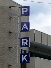 Saginaw, MI former Jacobson's parking garage (army.arch) Tags: saginaw michigan mi jacobsons departmentstore parking garage deck ramp structure neon sign