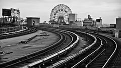 """Last Stop: Coney Island"" (Robert S. Photography) Tags: subway bw elevated wonderwheel billboards coneyisland stillwellave station brooklyn newyork sony dscwx150 iso100 august 2018"