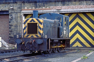 BR Blue 03112 parked for the weekend outside Gateshead Depot, Newcastle on 9June 1985.