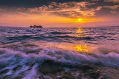 sunset 4718 (junjiaoyama) Tags: japan sunset sky light cloud weather landscape yellow orange purple contrast color lake island water nature summer wave sun reflection