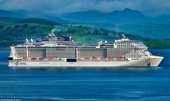 Scotland Greenock arriving in port MSC Meraviglia the forth biggest cruise ship in the world 29 August 2018 by Anne MacKay (Anne MacKay images of interest & wonder) Tags: scotland greenock sea msc meraviglia cruise ship mountains landscape 29 august 2018 picture by anne mackay
