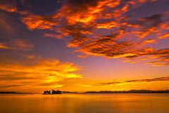 sunset 4411 (junjiaoyama) Tags: japan sunset sky light cloud weather landscape yellow orange contrast color bright lake island water nature summer calm dusk serene reflection
