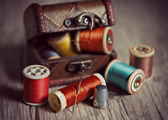 Chest of threads (Through Serena's Lens) Tags: stilllife closeup smileonsaturday thread colored chest spools dof thimble needle canoneos6dmarkii tabletop macro bokeh