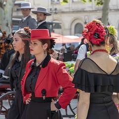 Belles andalouses (Xtian du Gard) Tags: xtiandugard elrocio nîmes gard france rouge red andalouses femmes costumes streetview scènederue