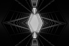 ...whatspidersdreamabout... (*ines_maria) Tags: architecture net abstract building geometry dream ehite light reflection spider outside modern future lookup constructioen panasonicdcgh5 sw monochrome mailand italy