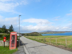 Red Phone Box and Letterbox, Coldbackie, Sutherland, Aug 2018 (allanmaciver) Tags: red phone box letter post iconic colour lamp street road north coast 500 fence weather warm sunny community houses sutherland allanmaciver