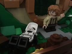 """What in Morgoth's name did you do to my house?!"" (splinky9000) Tags: lego star wars moc my own creation custom speeder bike scout trooper minifigure toys the hobbit shire house bilbo baggins"