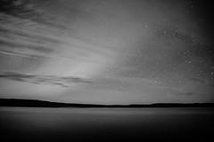 A starry night. (Kristaaaaa) Tags: landscape blackandwhite bw acros monochrome lutselke aurora fujixt2 fujifilm lake longexposure night north northernlights northwestterritories nwt sky stars water
