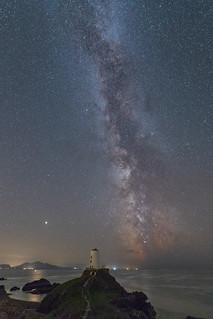 Ynys Llanddwyn, Twr Mawr Lighthouse, Milky Way and Mars